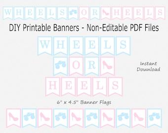 Wheels or Heels Banner - Light Pink & Pale Light Blue - Monster Truck, High Heel - Stiletto - PRINTABLE - INSTANT DOWNLOAD