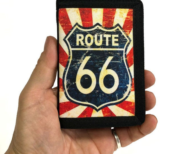 Wallet-Route 66-Americana-Tri fold-Canvas wallet-Sublimation-Gift for Friend