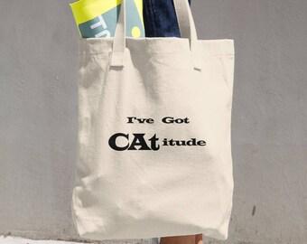 I've Got CATitude Cotton Tote Bag