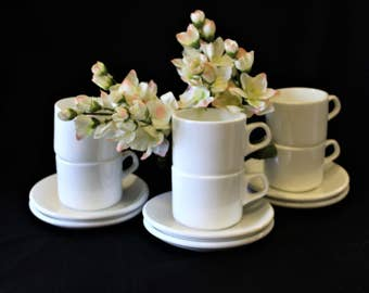 Vintage Set of 6 Like New ONEIDA Stone China Pure Beautiful White Demitasse/Expresso Cups & Saucers, Durable, Classic, And Elegant Set