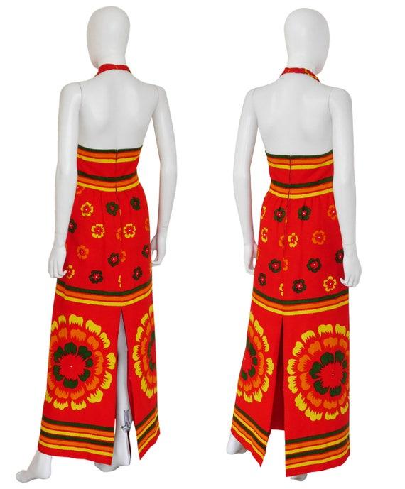 Maxi Halterneck Floral Evening Vintage Medium US Red Documented 8 LANVIN Size Dress 1970s Dress AnqWtW8xF