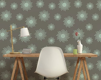 Large Kaleidoscope Stars Wall Stencil for a Wallpaper Look