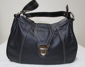 Wilsons Navy Blue Leather Handbag With Silver Slide Lock
