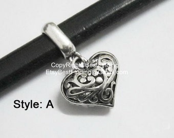 5pcs Heart charm pendant licorice leather findings charm holder with heart