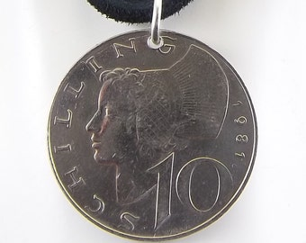 Austrian Coin Necklace, 10 Schilling, Mens Necklace, Womens Necklace, Coin Pendant, Leather Cord, Birth Year, 1981