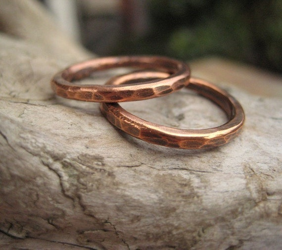 Stacking Rings Rustic Hammered Pure Copper Oxidized Two
