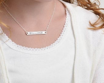 Kids Name Bar Necklace, Stamped Sterling Silver, girls necklaces personalize flower girl gifts teen jewelry birthday engraved, for her TATUM