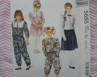 1990s sewing pattern McCalls girls top skirt and pants in two lengths UNCUT size 10-12-14