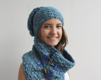 Hand-Knitted Indigo Blue Scarf and Beanie Set / Oversized, Chunky Knit, Winter accessories , Cozy Shawl,  Leather details