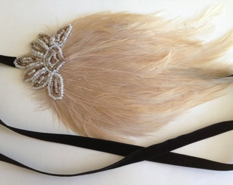 Bronze 1920s  headband, beige feather headband, bridesmaids gifts hair accessory, great gatsby headband flapper 1920s Art Deco