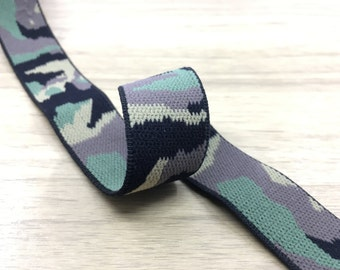 1.5 inch (40mm) Wide Colored Plush Camouflage Elastic Band, Soft Waistband Elastic, Elastic Trim, Sewing Elastic by the yard
