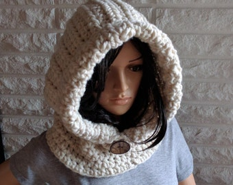 Women's chunky hooded cowl, women's scoodie, cream hooded scarf, women's accessories, gifts for her, fall, winter and spring fashion