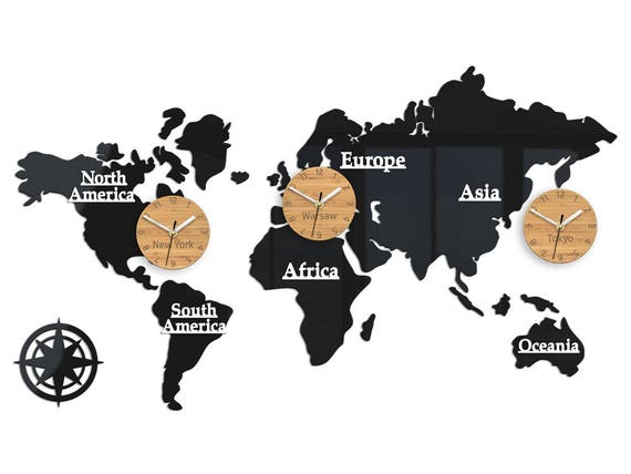 Large wall clock time zones world clock world map 100cm x gumiabroncs Choice Image