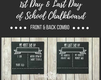 DIY KIT - First Day & Last Day of School Chalkboard Sign - Reversible - Craft Kit - Chalkboard - Back to School - Do it Yourself Kit