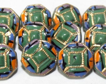 Vintage Buttons ~ Diminutive Glass Buttons Painted Designs ~ Art Deco Era Painted Glass Buttons