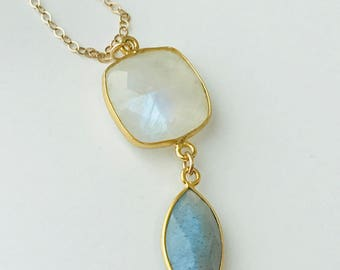 Moonstone Necklace Labradorite Necklace Gemstone Necklace Boho Necklace June Birthstone Summer Necklace  June Birthday June Gift
