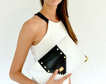 Clutch with snakeskin