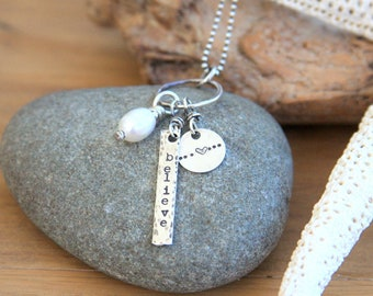 Believe necklace, heart necklace, charm necklace, hand stamped necklace, hand stamped jewelry, sterling silver, jewelry for Mom