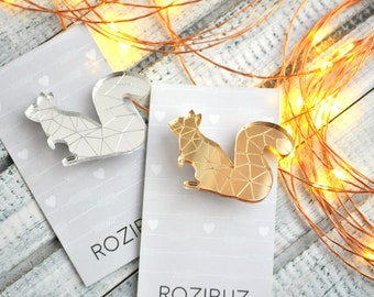 Squirrel acrylic brooch pin - mirror Squirrel acrylic brooch, gold silver Squirrel brooch, Squirrel brooch, acrylic brooch - made to order