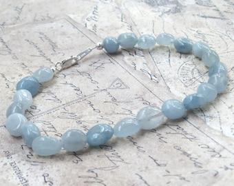Aquamarine Bracelet, Blue Bracelet, nuggets, gemstone bracelet, sterling silver, stacking bracelet, gems, beaded, freeform