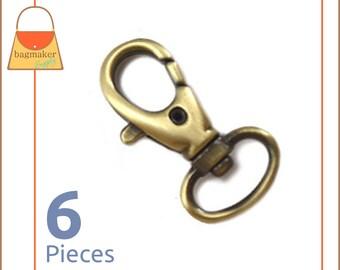 "1/2 Inch Swivel Snap Hooks, Antique Brass / Bronze Finish, Lobster Claw, 6 Pieces, Handbag Purse Hardware,  1/2"", .5"", .5 Inch, SNP-AA018"