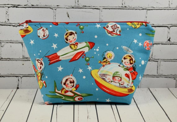 Retro Space Kids Makeup Bag Vintage Theme Fabric Kitsch