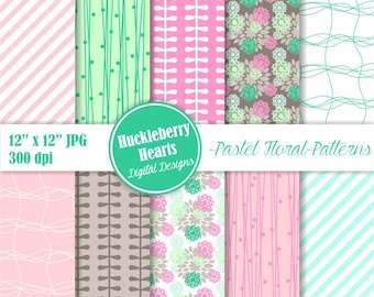 Digital Flower Paper, Pastel Flower Paper, Flower Scrapbook Paper, Flower Backgrounds