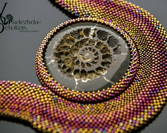 Beadwork necklace ammonite gold pyrite simbircite fossil and japanese beads color rainbow. Chocker beading ammonite