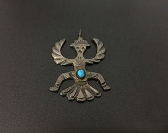 Vintage Southwestern Native Knifewing Kachina Sterling Silver Turquoise Pendant