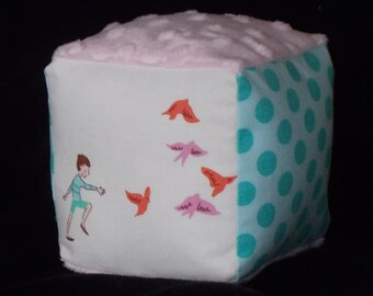 Pink With The Birds Fabric Boutique Block Rattle - SALE
