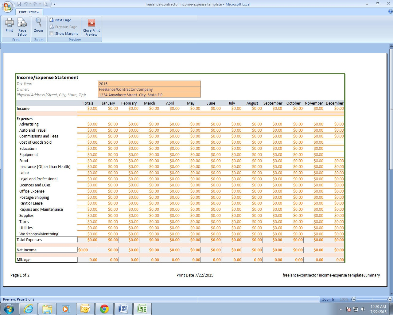 Photographer Income and Expenses Excel Spreadsheet