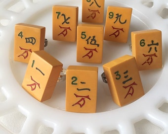 Mah jong bakelite jewelry * 1940s bakelite * numbers 2, 4, 8, 9 * numerology * vintage rings * sold separately