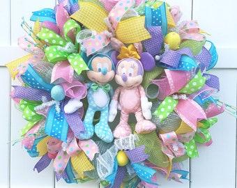 Easter Wreath, Mickey Minnie Easter Wreath,  Disney Easter Wreath, Easter Mesh Wreath, Easter Mickey Wreath, Easter Minnie Wreath
