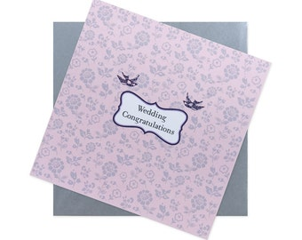 Wedding Congratulations Card - pink