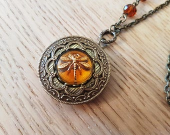 Topaz Dragonfly Vintage inspired Czech Glass Button Locket Necklace bronze amber cognac romantic keepsake photo locket Victorian style