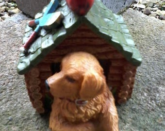 Rustic log Cabin dog house ornament
