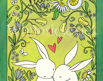"Rabbit Art Print inspired by fortune cookies ""Affection"" matted"