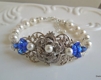 pearl bracelet, Pearl Bridal bracelet, wedding rhinestone bracelet, pearl crystal bracelet, Swarovski bracelet, wedding cuff, ROSELANI