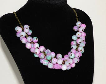 Necklace bronze 100 pink beads