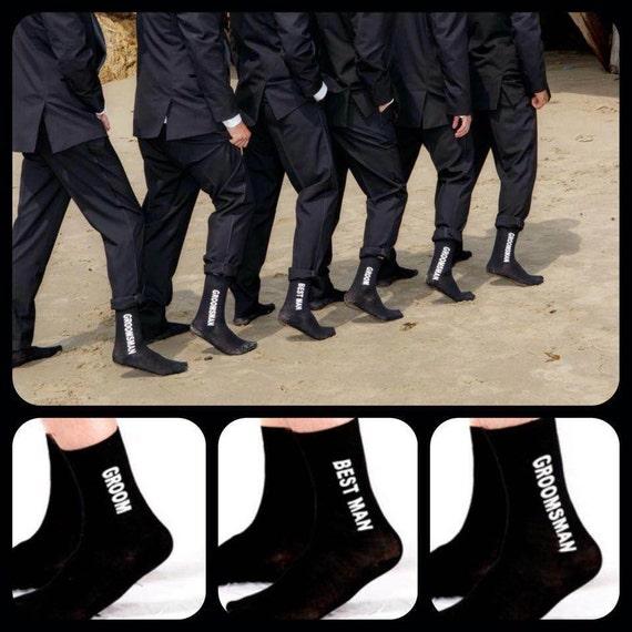 Set of 5 Wedding Party Socks Wedding Socks Groom Socks Best