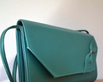 Vintage Green Faux Leather Shoulder Bag Bow Detail