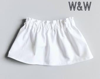 Girl's Solid White Skirt, Plain White Skirt, Handmade Girl's Skirt, White Baby Skirt, White Toddler Skirt, Children's Clothing