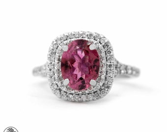 Double Diamond halo Ring, Pink Tourmaline and Diamond Engagement Ring, Engagement Ring, Tourmaline Engagement Ring | LDR02189