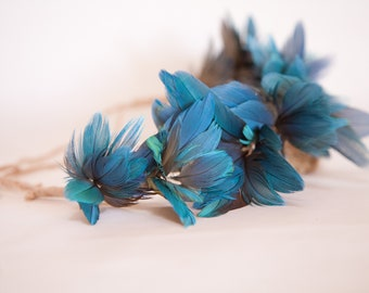 Blue & Gold Macaw Feather Feather Crown Feather Headband Feather Hair Wreath