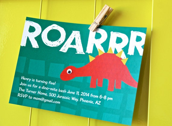 Dinosaur Birthday Party Invitations Personalized Printable