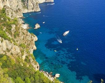 Capri Cliffs, Amalfi Coast, Italy, Mediterranean Sea, Blue, Boats, Island of Capri, Campania - Travel Photography, Print, Wall Art