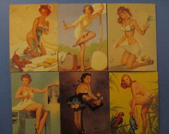 6-PINUP GIRL MAGNETS Gil Elvgren PinUp Girls Refrigerator Magnets Great Gift Idea Stocking Stuffers