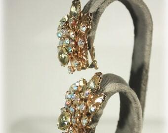 Large Aurora Borealis Rhinestone Clip on Earrings, Bridal Jewelry, Wedding, AB Rhinestone, Citrine