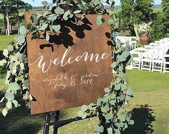 Wood Welcome Sign Wedding, Wood Wedding Welcome, Welcome Wedding Sign Wood, Rustic Welcome Sign, Wooden Welcome Signs, Wood Wedding Signs