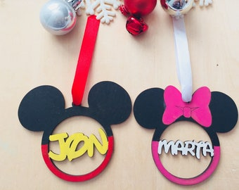 Disney Minnie mickey personalised name word bauble wood
